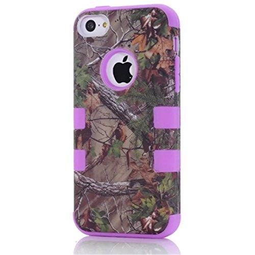 iPhone 5C hülle,Lantier Defender Body Armor Realtree Camo harter Silikon Gummi Military Rugged Schutzhülle Combo mit Camouflage hölzerne Entwurfs Abdeckung für Apple iPhone 5C [Green Tree Schwarz] Green Tree Purple