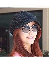 Oudan Sombrero de Mujer Ms Cap Estilo de otoño Rayas Transpirables Gorra  Octogonal Casquillo LUN Casquillo 17582079eb81