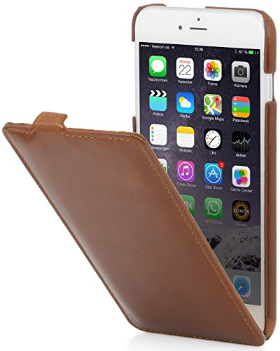 StilGut Lederhülle kompatibel mit iPhone 6 Plus vertikales Flip-Case, Cognac - Case Iphone Leder Vertikal 6