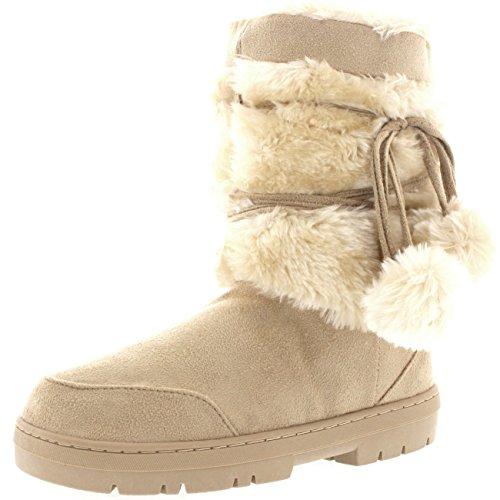 Holly Damen Schuhe Pom Pom Fell Schnee Regen Stiefel Winter Pelzstiefel - Beige - BEI40 AEA0312 (Schnee Stiefel Für Mit Fell Frauen)