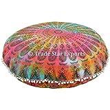 "Grandes cojines de suelo, Teñido Mandala Tire, Ronda de almohada decorativa 32 "", india Puf otomana, Roundie Boho Almohada Shams, Almohada de Pom Pom de la cubierta al aire libre"