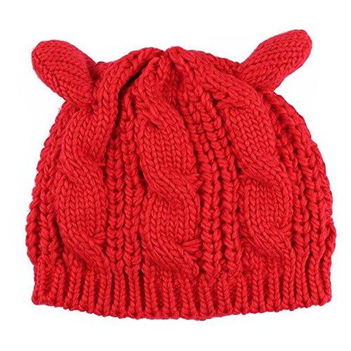 Brolux(TM) 1 PC Winter Hats For Women Knitted Beanie Female Lady Horns Cap Hat With Cat Ear Style Warm Bonnet Femme Gorro Skullies 2017 New [Red ] Red Hat Bonnet