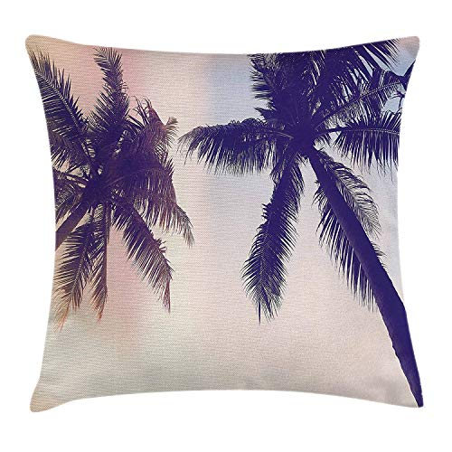 Palm Tree Decor Throw Pillow Cushion Cover by, Unusual Toned Trees with Sun Flare Californian Inspirations Art Print, Decorative Square Accent Pillow Case, Dark Purple Pink24 Tan Gold Flare