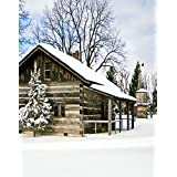A.Monamour Scenic Winter White Snow Trees With Rimes Hoarfrost Christmas Holiday Mural Party Wall Decorations Vinyl Fabric Photography Backdrops 5x7ft - Cabin Wooden House