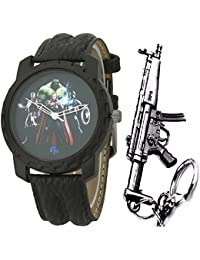 LMP3 Marvel Avengers Multicolor Dial Black Leather Strap Analog Wrist Watch With Keychain For Kids And Boys (AW01350)