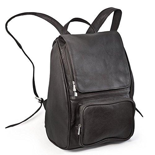 Mittel-Großer Lederrucksack Größe M / Laptop Rucksack bis 14 Zoll, für Damen und Herren, Schwarz, Jahn-Tasche 710