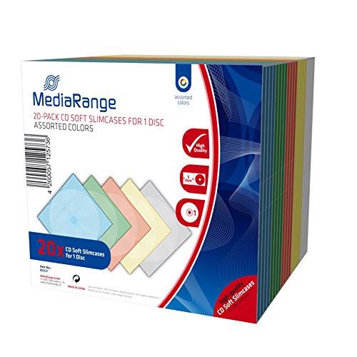 MediaRange CD-Leerhülle, schmal, für 1 Disc, 5mm, farbig sortiert, 20er Pack (Slim Dvd-hüllen Farbig)
