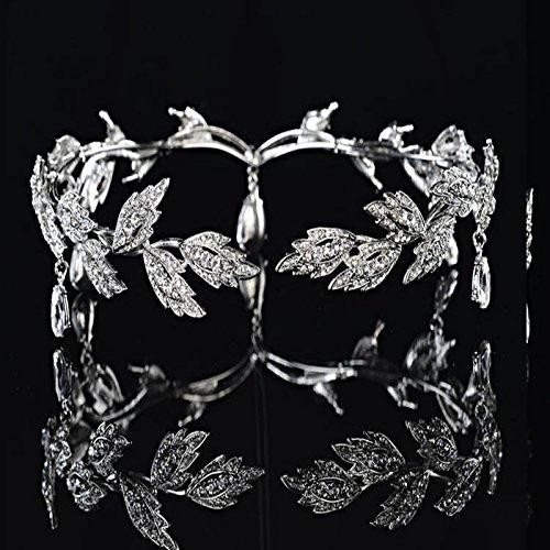 Corona de Hoja De Cristal De Banda Para La Frente Tiara De La Princesa Boda De Novia Tocado De La Venda