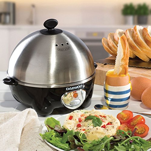 51bZ8ChjaaL. SS500  - Daewoo 360W Compact Egg & Omelette Cooker with Steam Vents, Boil Dry Protection, Heat-Resistant Handles - Silver/Black