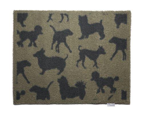 Hug Rug Fußmatte T120, umweltfreundlich, saugfähig, für den Innenbereich, waschbar, 64,8cm x 85,1 cm, Motiv: Getopfte Herzen, Beige with Charcoal Dogs, 25.5-Inch x 33.5-Inch -