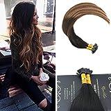 Ugeat 20Zoll Flat Tip Haarverlangerung Echthaar Extensions 50g 1g/s Brasilianisch Keratin Bondings Echthaar Tressen #1b/4/27 Black With Dark Brown and Caramel Blonde
