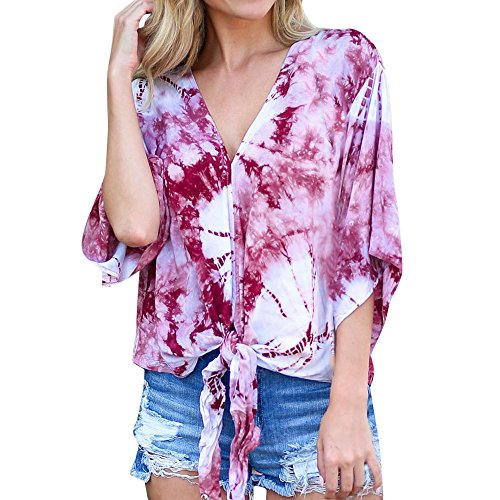 Bluse Damen MYMYG Frauen Casual V-Ausschnitt Printed Lace-up 3/4 Flare Ärmel Verband lose Top (Heißes Rot,EU:34/CN-S) Cord-flare Jeans