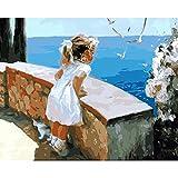 Dipingere con i numeri per bambini Adulti Kit pittura a olio fai da te Principiante [Cornice in legno] - Una ragazza che guarda il paesaggio 40cm×50 cm