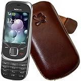 Original Suncase Echt Ledertasche (Lasche mit Rückzugfunktion) für Nokia 7230 Slide in braun