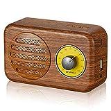 LOEROY Holz Bluetooth Lautsprecher Portable Retro Speaker, mit UKW-Radio, 3,5-mm-Audioeingang, kompatibel mit Anderen Bluetooth-Geräten, USB- und TF-Kartenanschlüssen (3 Farben)