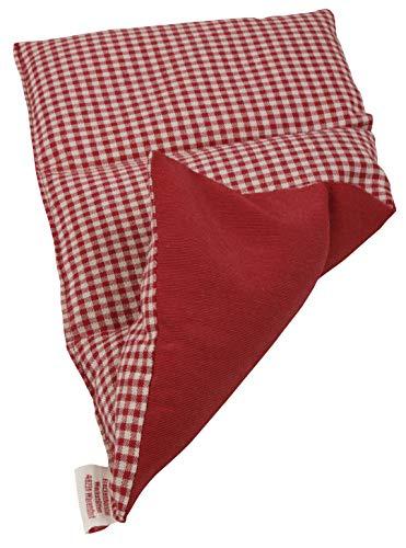 Textil FreWe Körnerkissen Baumwolle/Verschiedene Designs/ca. 28x16 cm / 3 Kammern/rot-beige kariert/rot