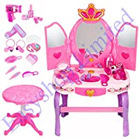 FB FunkyBuys® Large Girls Glamour Mirror Makeup Dressing Table Stool Pretend Play Set Toy Vanity Light & Music New (SI-TY1089)