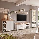 Pharao24 Wohnkombination in Weiß und Eiche skandinavischen Landhausstil Ohne Beleuchtung Energieeffizienzklasse
