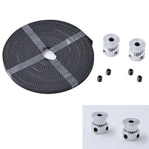 MyArmor 2Pcs 2GT 20 Teeth Timing Pulley Wheel+5M 2GT-6mm Rubber Opening Belt Test