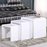 UEnjoy Nest of 3 Tables White High Gloss Nesting Tables Wood Coffee Table Multi-functional Side Table Living Room End Table