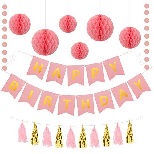 Geburtstagsdeko Set Mädchen | Party Deko | Kindergeburtstag Deko | Happy Birthday Banner, Wabenbälle, Papier Girlande, Quasten Girlande aus Seidenpapier | Dekoration Geburtstag Rosa Gold