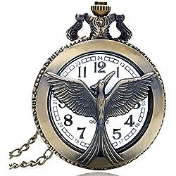 """THE HUNGER GAMES Phoenix Bronze Antiqued/Vintage Case Men's Quartz Pocket Watch Necklace - On 32"""" Inch / 80cm Chain"""