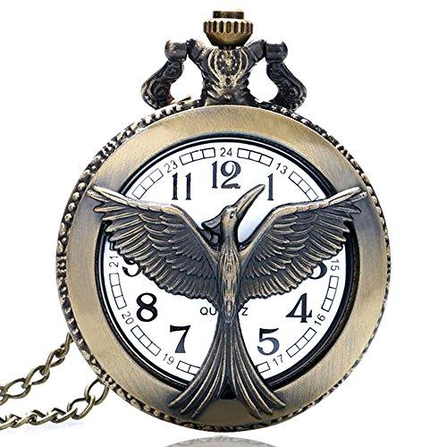 The Hunger Games Phoenix Bronze Antik/Vintage Case Herren Quarz-Taschenuhr Halskette–auf 81,3cm Zoll/80cm (Stil Modeschmuck Antik)