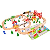 Timy Deluxe Wooden Train Track Set 100 Pieces Railway Play Set With Accessories For Kids