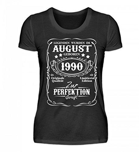 Shirtee Hochwertiges Damen Organic Legenden August Geburtstag 1990 Schwarz