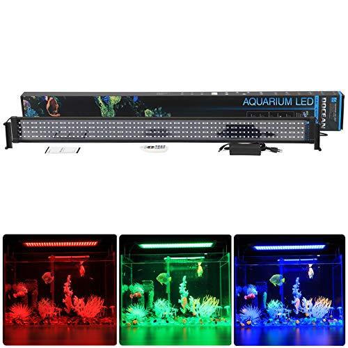 DOCEAN Led Aquarium Beleuchtung 40W Aufsetzleuchte Aquarium Verstellbar Aquariumlicht RGB Aquariumleuchte für 117-139cm Aquarium -