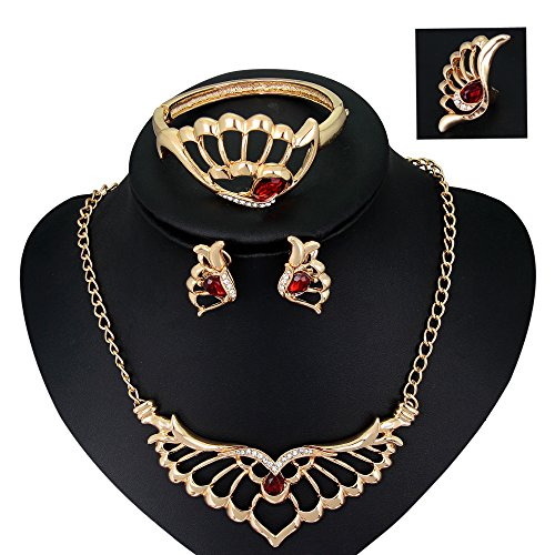 Skyllc® Mode Multicolor Gold überzogene Kristall Hochzeit Halsketten Armband Ring Ohrstecker Set (Mode-ohrring-bolzen-sets)