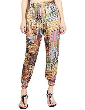 Juleya Pantalones Mujer Verano Pantalones Harén Cintura Alta Pantalones de Playa 7/8 Longitud Pantalones Casuales...