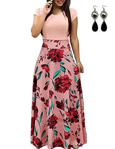 PIPIHU Sommerkleid Damen Lang mit Blüte Drucken Lang High Waist Elastische Strandkleider Maxikleider (3XL, Rosa) - Strand Hochzeit Kleid Boho