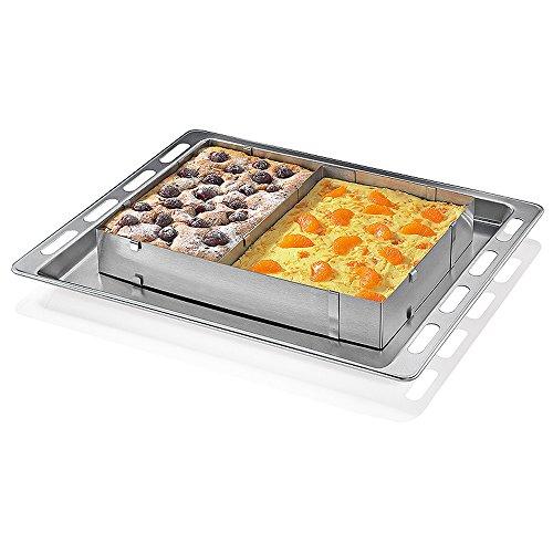 KALREDE Tortenring verstellbar - Backrahmen eckig - Kuchenring hoch, für Blech-Kuchenrahmen mit Teiler - Backrand aus Edelstahl - Dekorierrahmen für Kuchen & Torten(15,2-30,5 cm)