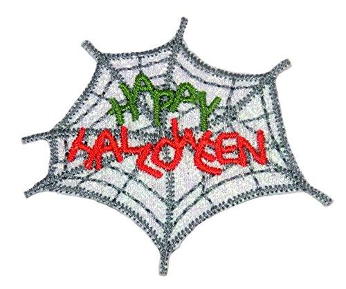 Happy Halloween Spider Web Grün Rot Silber gesticktes Eisen auf Aufnäher