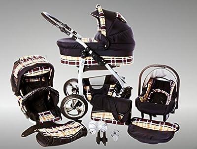 Chilly Kids Dino Kinderwagen Sommer-Set (Sonnenschirm, Autositz & Adapter, Regenschutz, Moskitonetz, Getränkehalter, Schwenkräder) 37 Beige Karo & Schwarz