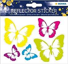Herma - Adesivi riflettenti, tenuta permanente, 5 adesivi fluorescenti per confezione Motivo farfalla