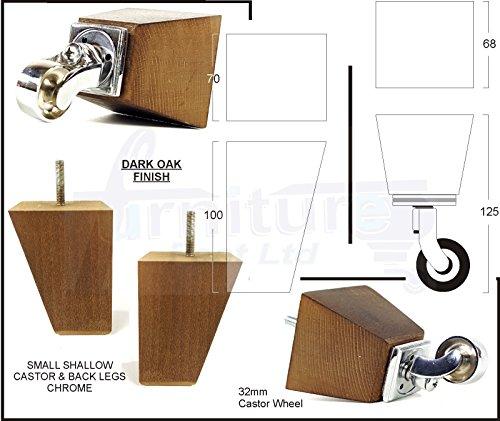 4x Massivholz Möbel Beine Ersatz Castor Füße für Sofas, Stühle, Sofas, Hockern–M8(8mm)–pkc364_ CHQ, dunkle eiche, M8(8mm) (Walnuss Dunkle Bücherregal)