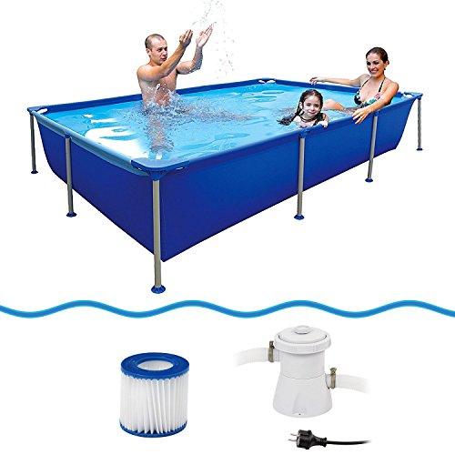 Jilong 6920388627108Marco de acero–Set de platillos de piscina rectangular, con cartuchos de filtro Bomba, 258x 179x 66cm, passaat Azul
