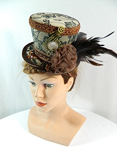 Midi Zylinder braun Steampunk Fascinator Damenhut Headpiece
