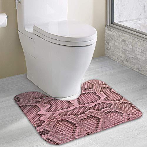 Vidmkeo Snake Skin Texture Contour Bath Rug, U-Shaped Polyester Toilet Floor Mat Non Slip Bathroom Shower Carpet