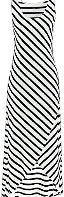feiXIANG Faldas, Vestido sin mangas con rayas irregulares en blanco y negro Vestido sin mangas con rayas casual...