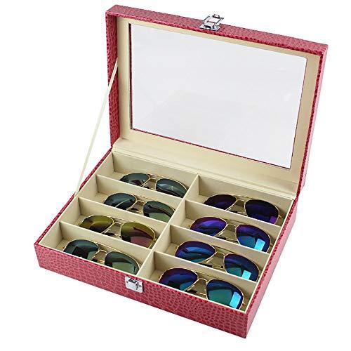 Chengzuoqing Sunglass Sonnenbrillenetui zum Aufbewahren des Rings des Kollektors, zum Organisieren von Gläsern von 8 Slots Free Size Rot
