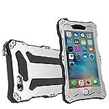qichenlu [Robuste Konstruktion] Silber iPhone 6s Plus / 6 Plus Aluminium Silikon Hybrid Gehäuse,Eingebaute Display Glasfolie Rundumschutz Outdoor Hülle Extrem Stoßfest Metall Case für iPhone 6s Plus / 6 Plus