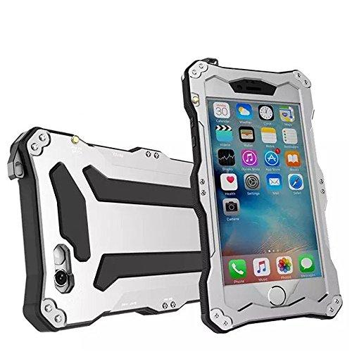 qichenlu [Robuste Konstruktion] Silber iPhone SE / 5S / 5 Aluminium Silikon Hybrid Gehäuse,Eingebaute Display Glasfolie Rundumschutz Outdoor Hülle Extrem Stoßfest Metall Case für iPhone SE / 5S / 5