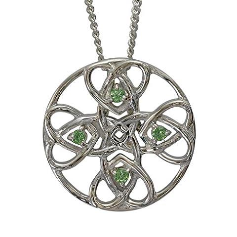 """3134 Sterling-Silber 925 Keltisches Herz-Anhänger """"Alvie"""" Set mit 4 Peridots. läuft nicht rostender. EU aus."""