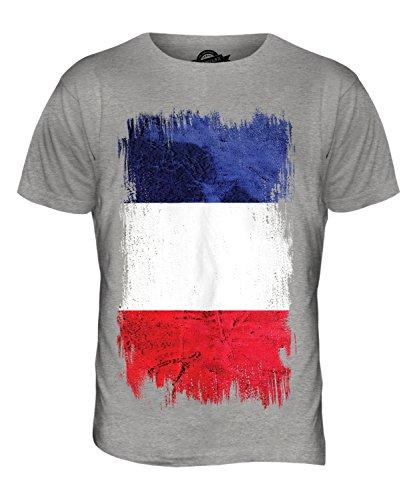 CandyMix Francia Bandiera Del Grunge T-Shirt da Uomo Maglietta Marne Grigio