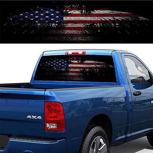 Auto Heckscheibe Amerikanische Flagge Vinyl Aufkleber Aufkleber Dekoration Abzeichen Zubehör Für LKW Auto SUV Jeep,64.96inchx22.04inch (Aufkleber Heckscheibe Jeep)