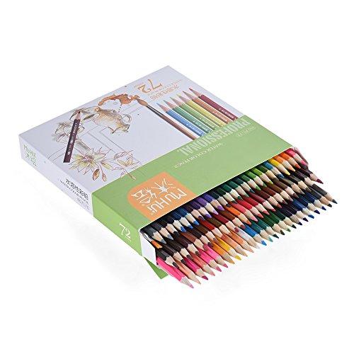 KKmoon 72 Farben Wasserlöslich Buntstifte Set mit Bürste in Papier Kästchen, Vor Geschärft Farbestifte für Kinder Erwachsene Künstler Zeichnung Skizzierung Schreiben Malen Artwork Färbung