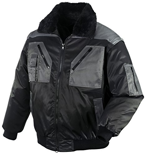 securesse Pilotenjacke 4 in 1-Funktion warme Winterjacke Arbeitsjacke Outdoorjacke (L, Schwarz/Anthrazit)